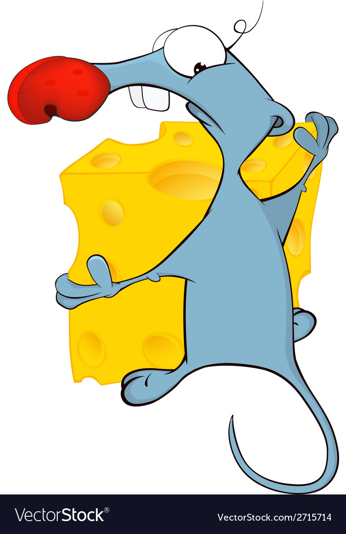 Little mouse and cheese cartoon vector | Price: 1 Credit (USD $1)