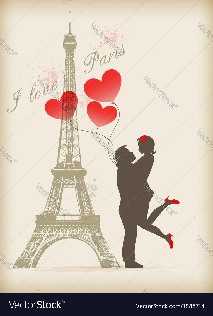 Loving couple in paris vector | Price: 1 Credit (USD $1)