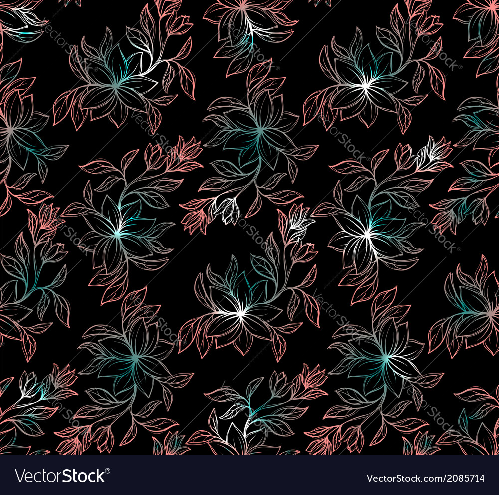 Psychedelic seamless floral pattern vector | Price: 1 Credit (USD $1)
