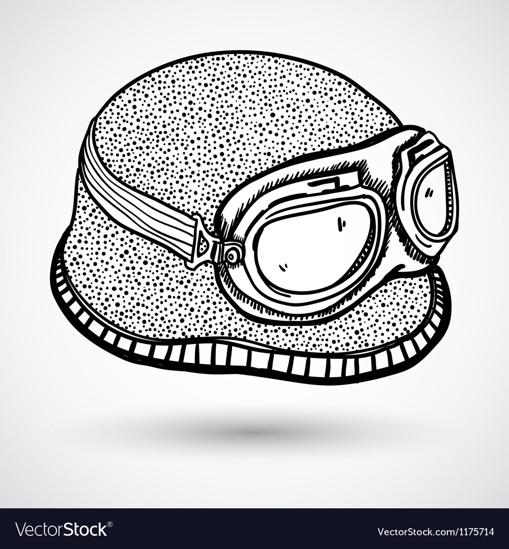 Retro motorcycle helmet and goggles vector | Price: 1 Credit (USD $1)