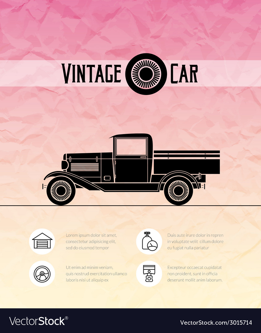 Retro pickup truck car vintage outline style vector | Price: 1 Credit (USD $1)