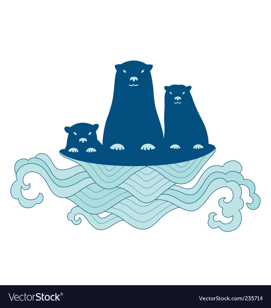 Sea otter family vector | Price: 1 Credit (USD $1)