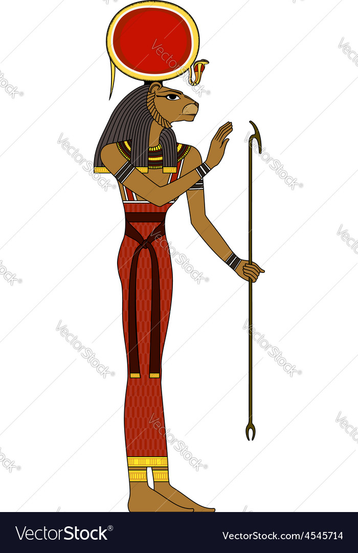 Sekhmet  isolated figure of ancient egypt god vector | Price: 1 Credit (USD $1)