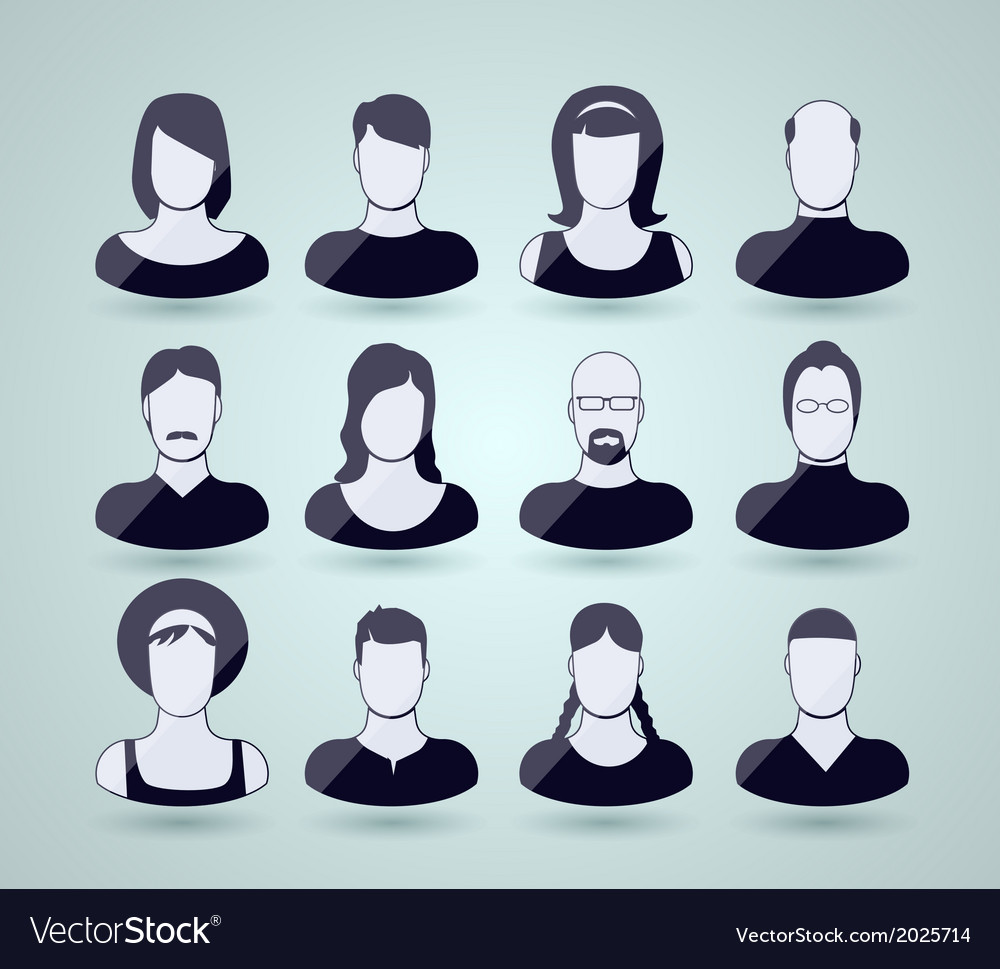 Set of faces and shoulders vector | Price: 1 Credit (USD $1)