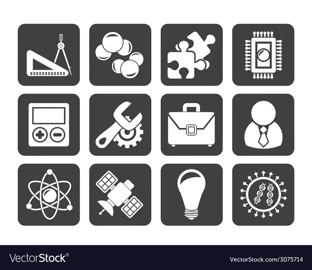 Silhouette science and research icons vector | Price: 1 Credit (USD $1)