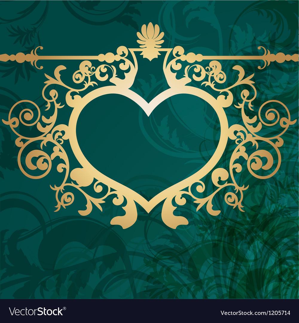 Vintage valentine background with golden heart vector | Price: 1 Credit (USD $1)
