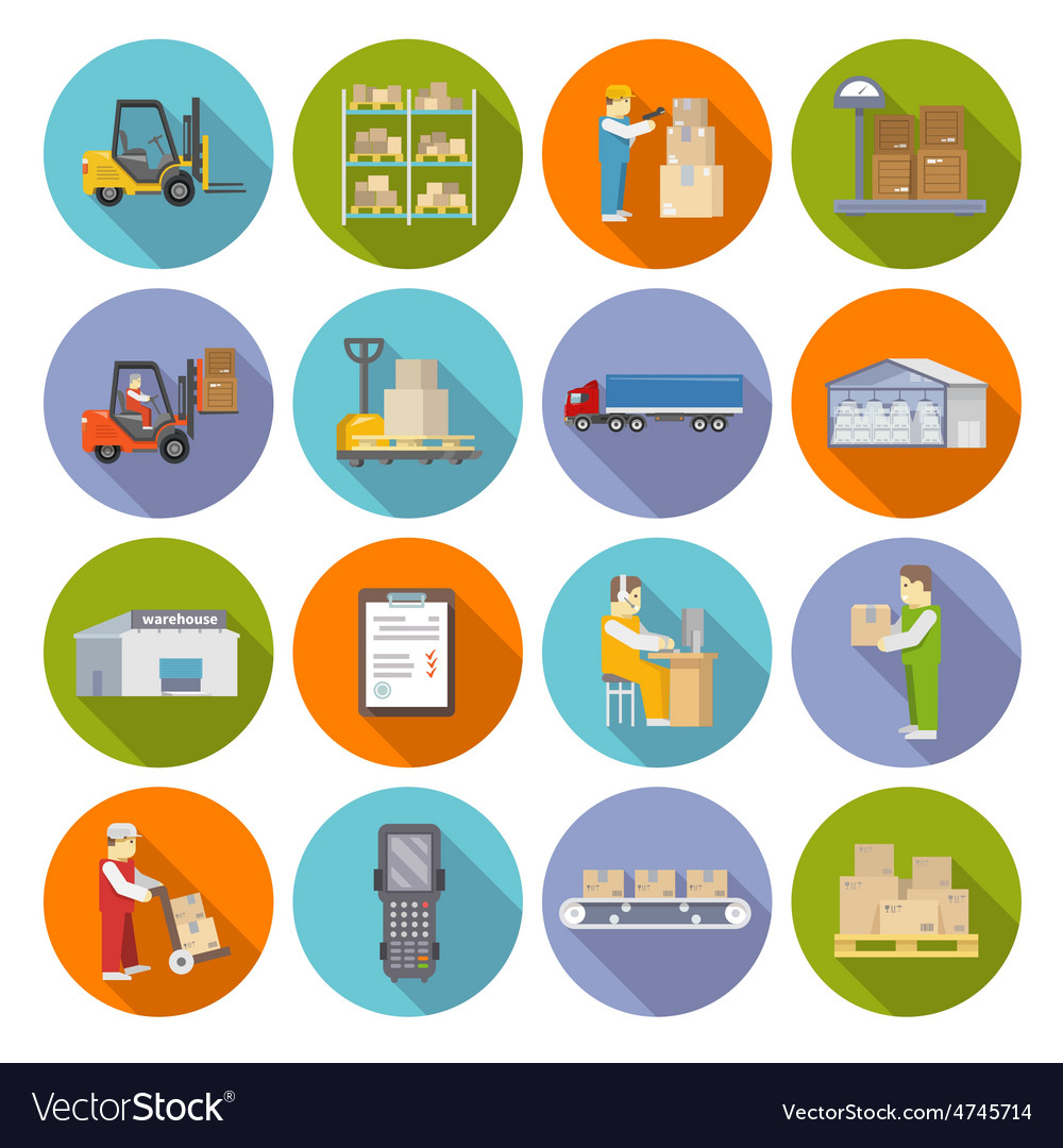 Warehouse icons flat set vector | Price: 1 Credit (USD $1)