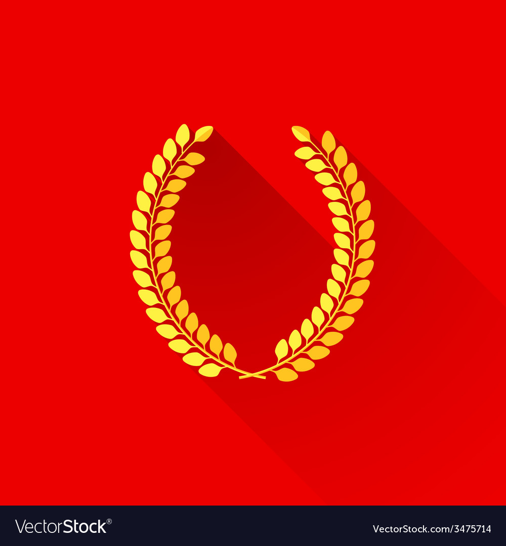 With laurel wreath in flat style design with long vector | Price: 1 Credit (USD $1)