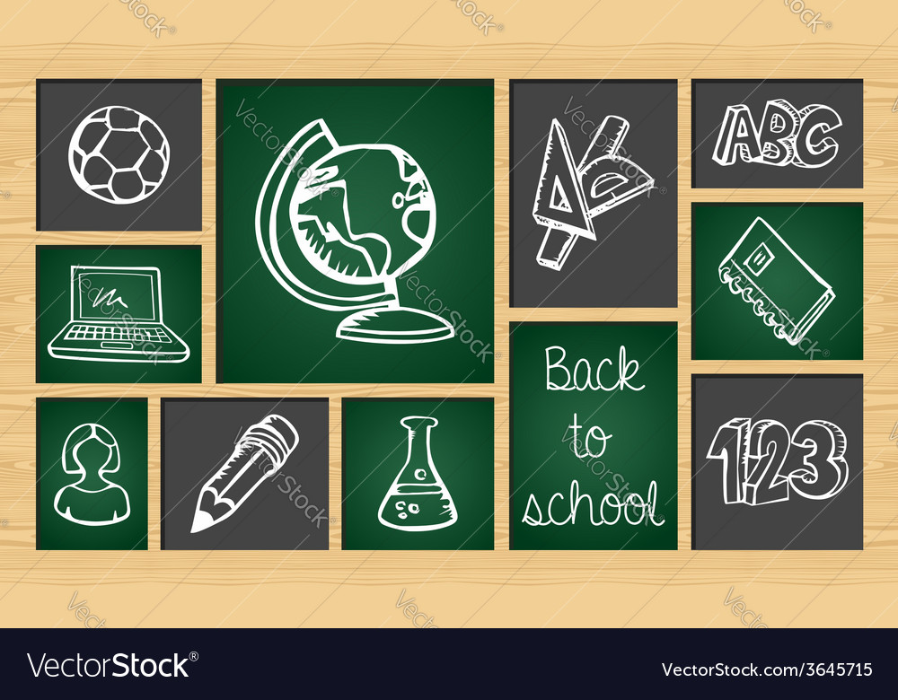 Back to school sketch icon set vector | Price: 1 Credit (USD $1)