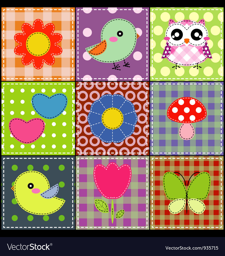 Background with heart flower mushrooms and birds vector | Price: 1 Credit (USD $1)