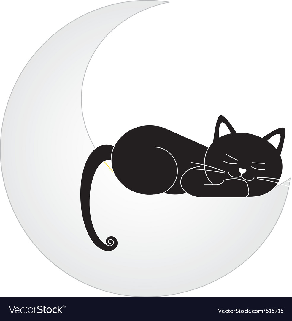 Cat on the moon vector | Price: 1 Credit (USD $1)