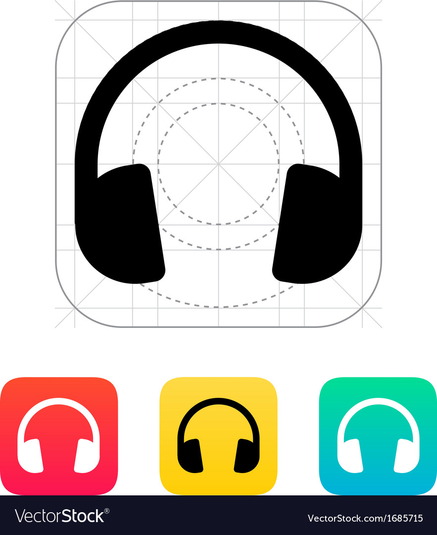 Dj headphones icon vector | Price: 1 Credit (USD $1)
