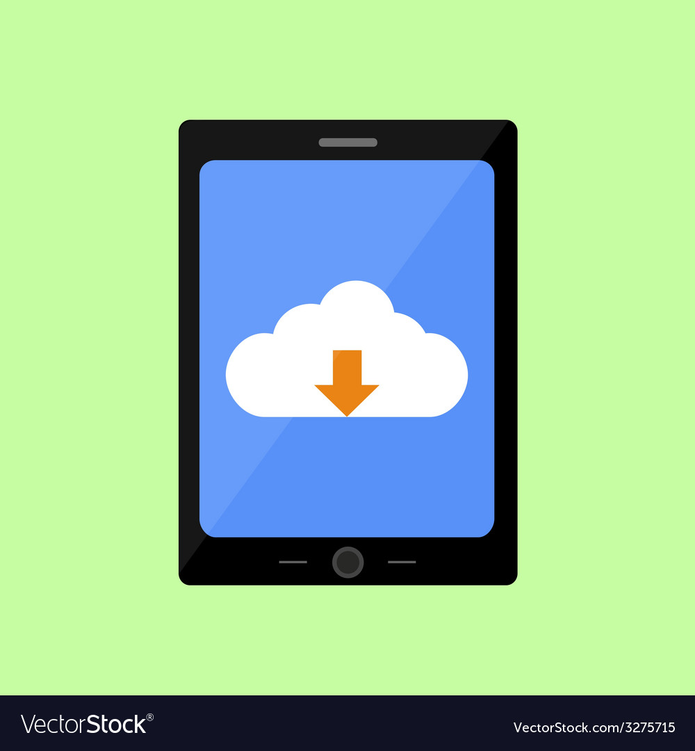 Flat style touch pad with cloud uploading vector | Price: 1 Credit (USD $1)