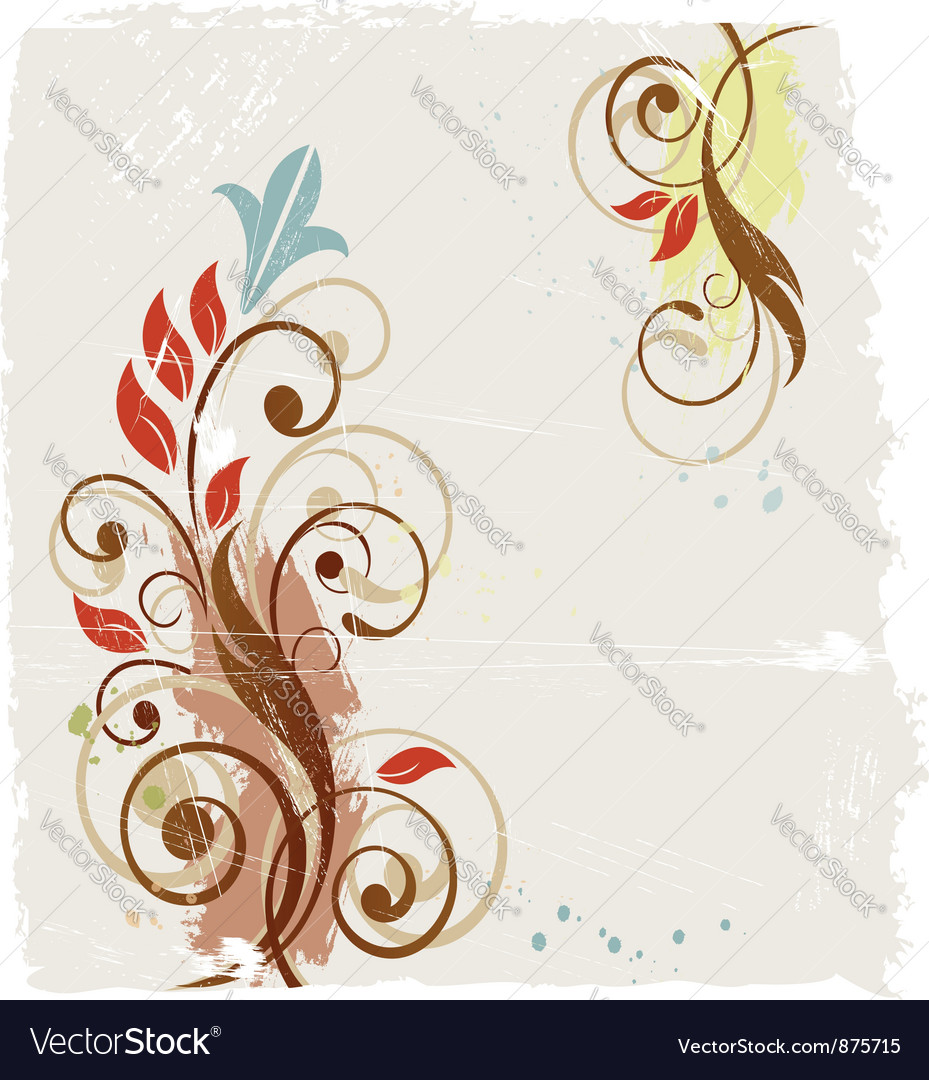 Floral grunge abstract background vector | Price:  Credit (USD $)