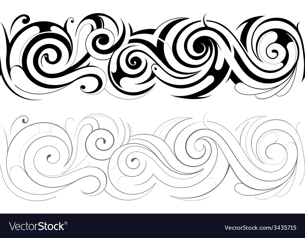 Floral swirls with seamless ornament vector | Price: 1 Credit (USD $1)