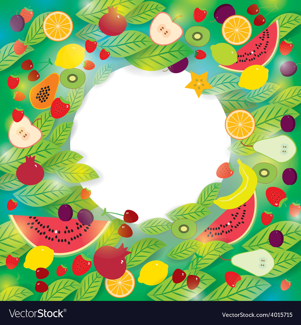 Healthy lifestyle set of fruits and leaves on the vector   Price: 1 Credit (USD $1)