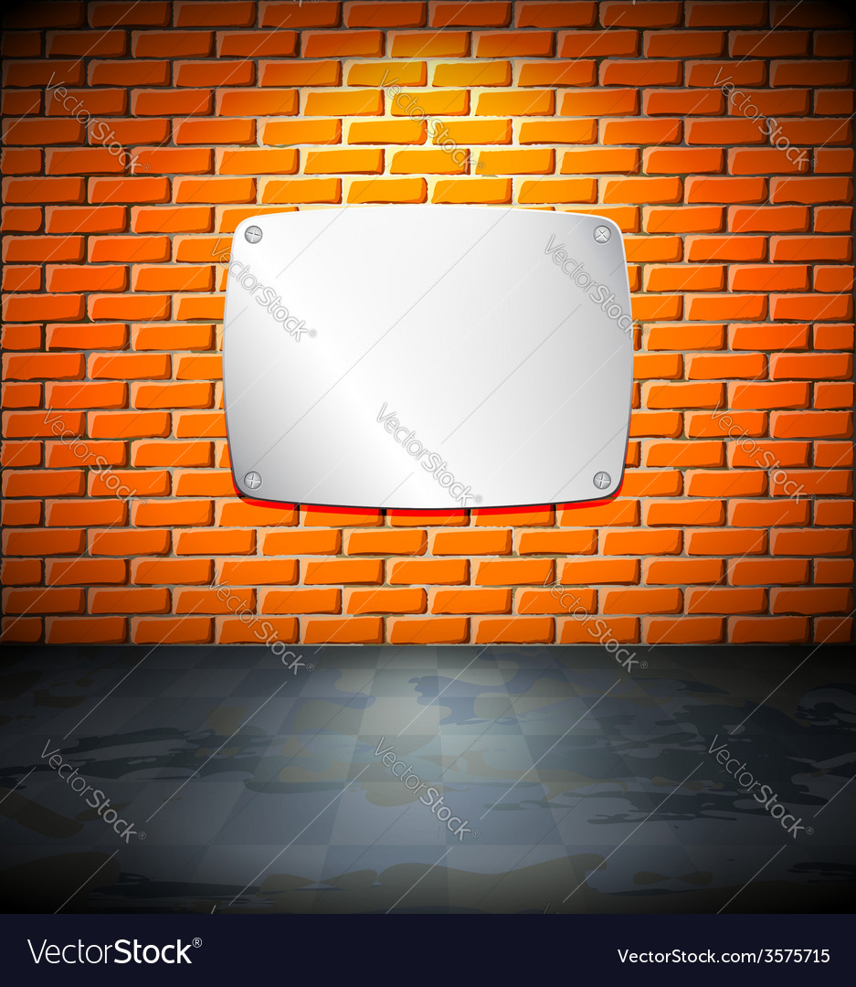 Metal screen on the brick wall vector | Price: 1 Credit (USD $1)