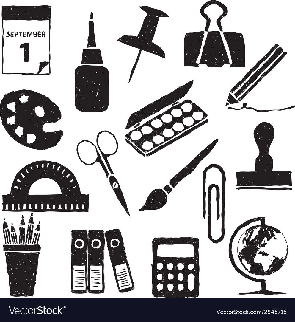Stationery doodle images vector   Price: 1 Credit (USD $1)