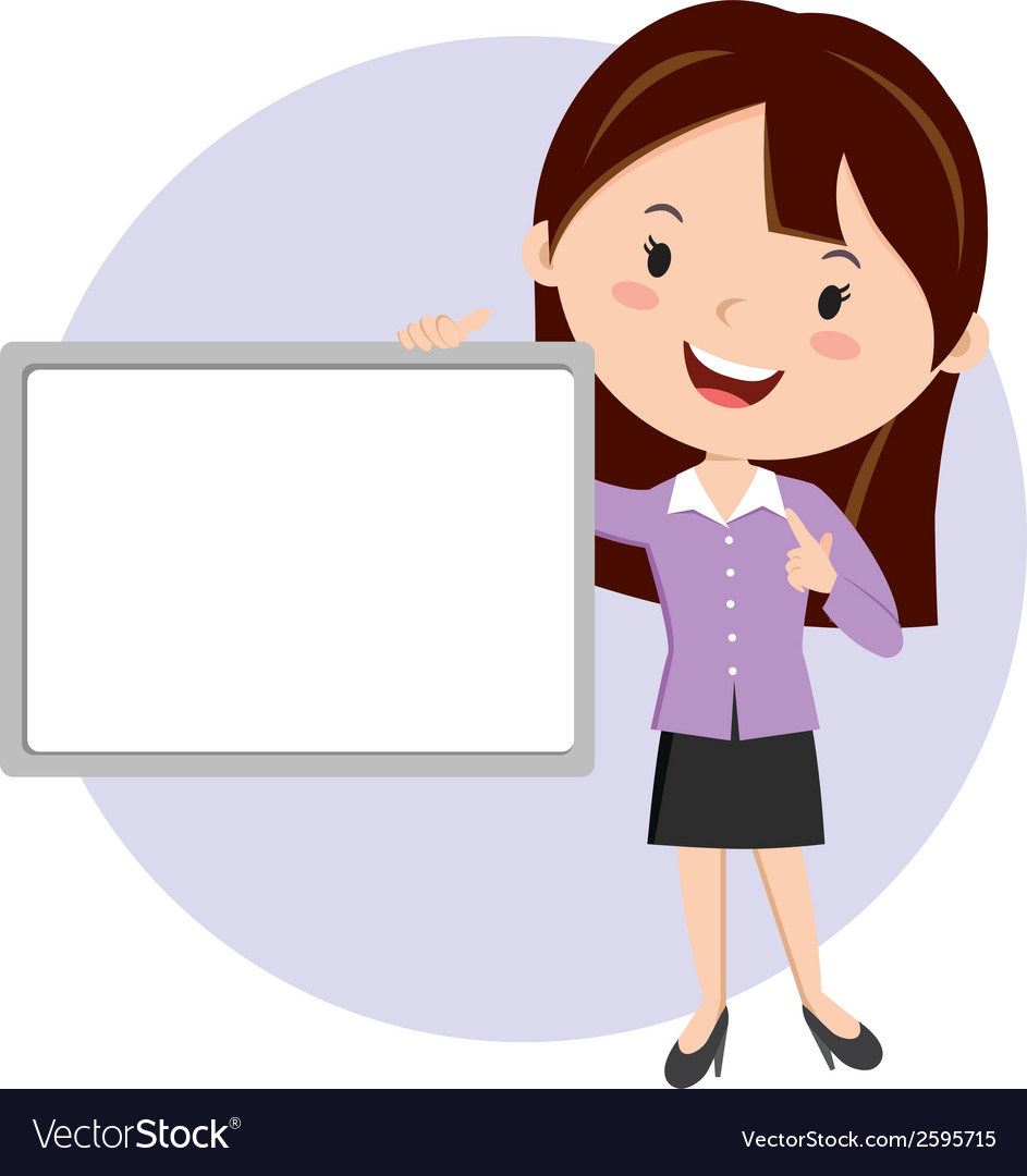 Woman holding whiteboard vector | Price: 1 Credit (USD $1)