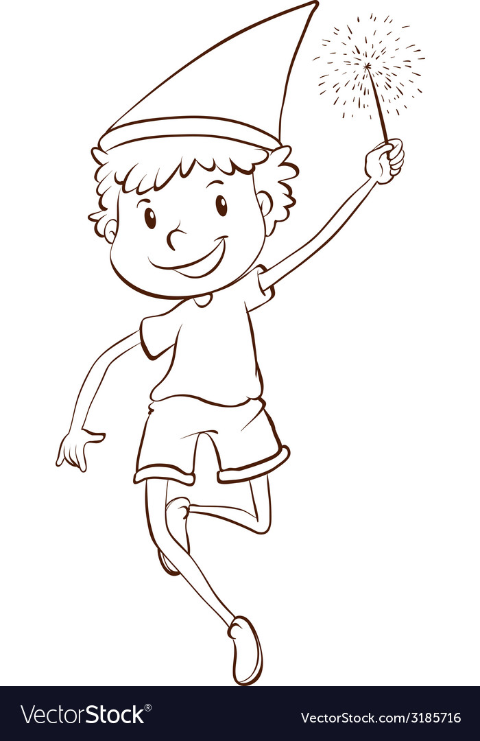 A plain drawing of a boy celebrating vector | Price: 1 Credit (USD $1)