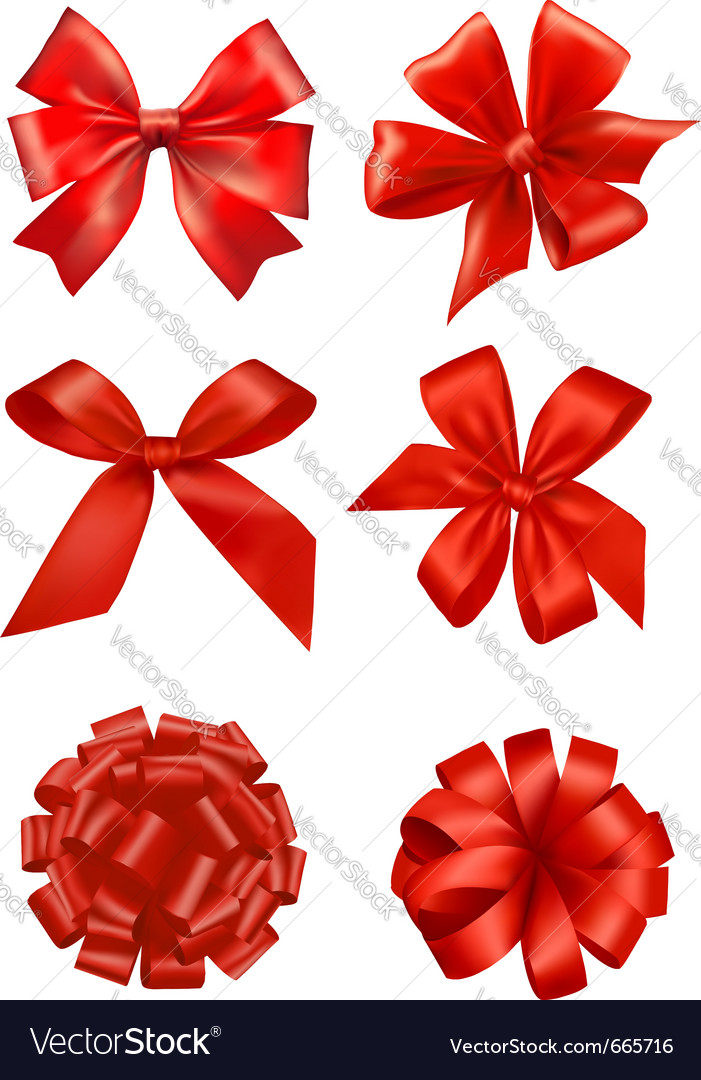 Big set of red gift bows with ribbons vector | Price: 1 Credit (USD $1)