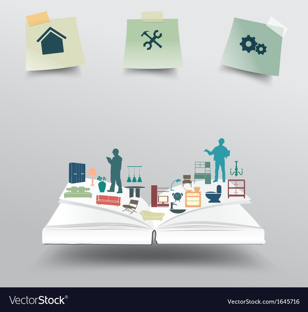 Book with home appliances icons vector | Price: 1 Credit (USD $1)