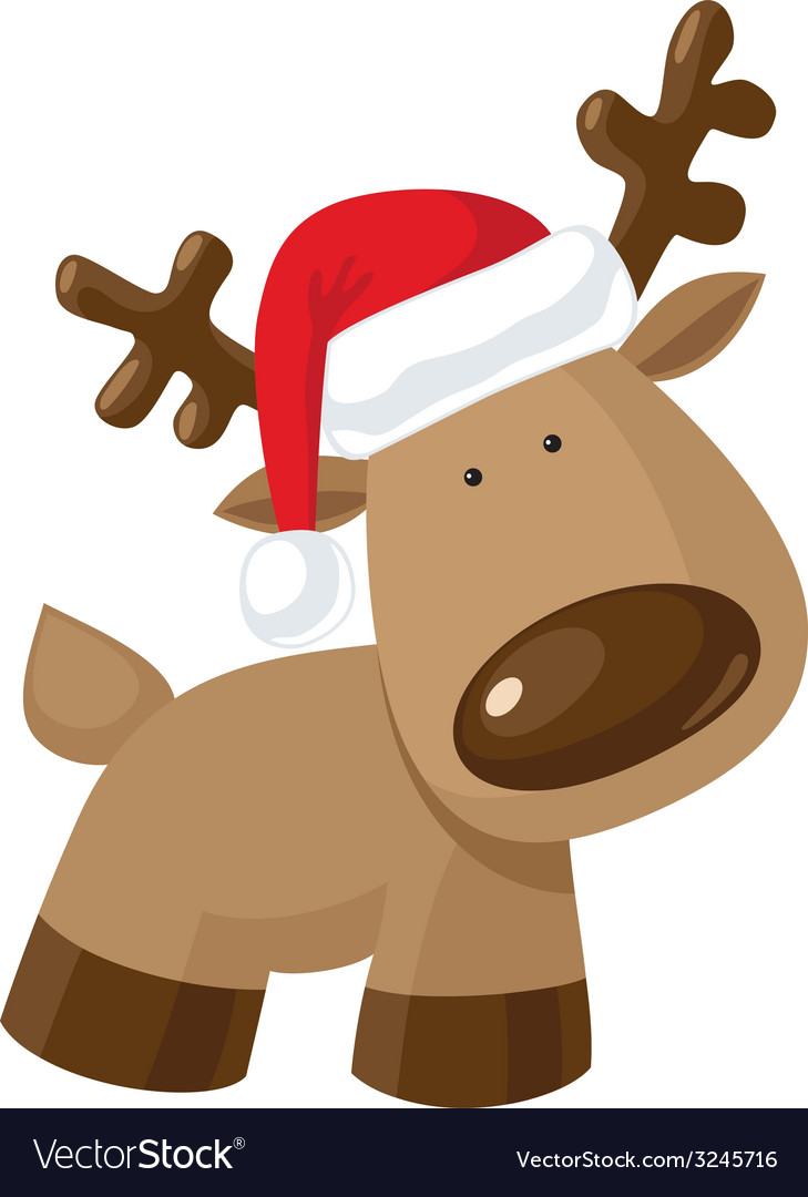 Christmas reindeer standing in santas hat vector | Price: 1 Credit (USD $1)