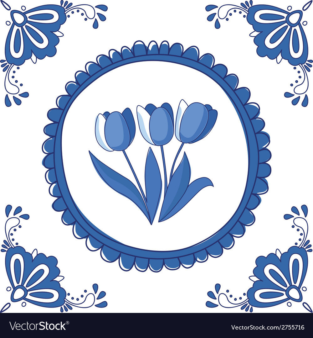 Delft blue tulips vector | Price: 1 Credit (USD $1)