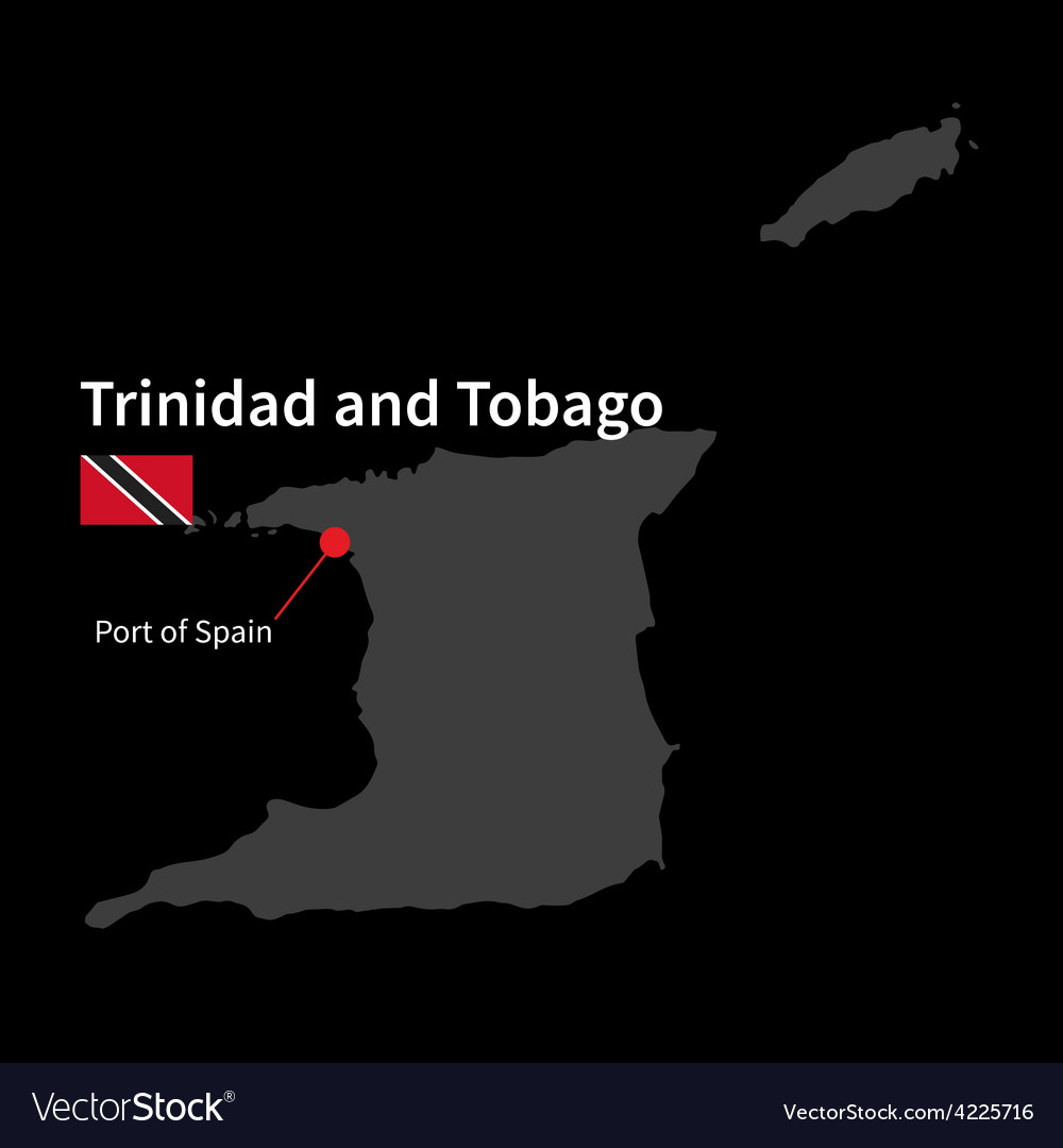 Detailed map of trinidad and tobago and capital vector | Price: 1 Credit (USD $1)