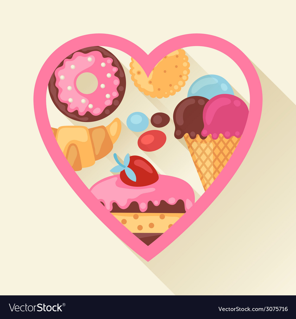 Heart background with colorful candy sweets and vector | Price: 1 Credit (USD $1)