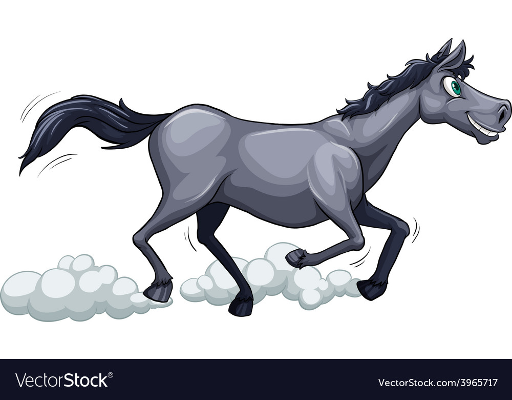 A gray horse running vector | Price: 1 Credit (USD $1)