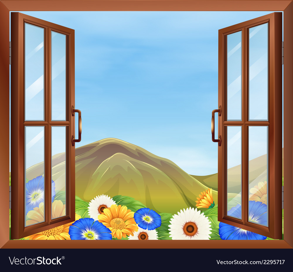 A window with fresh flowers outside vector | Price: 1 Credit (USD $1)
