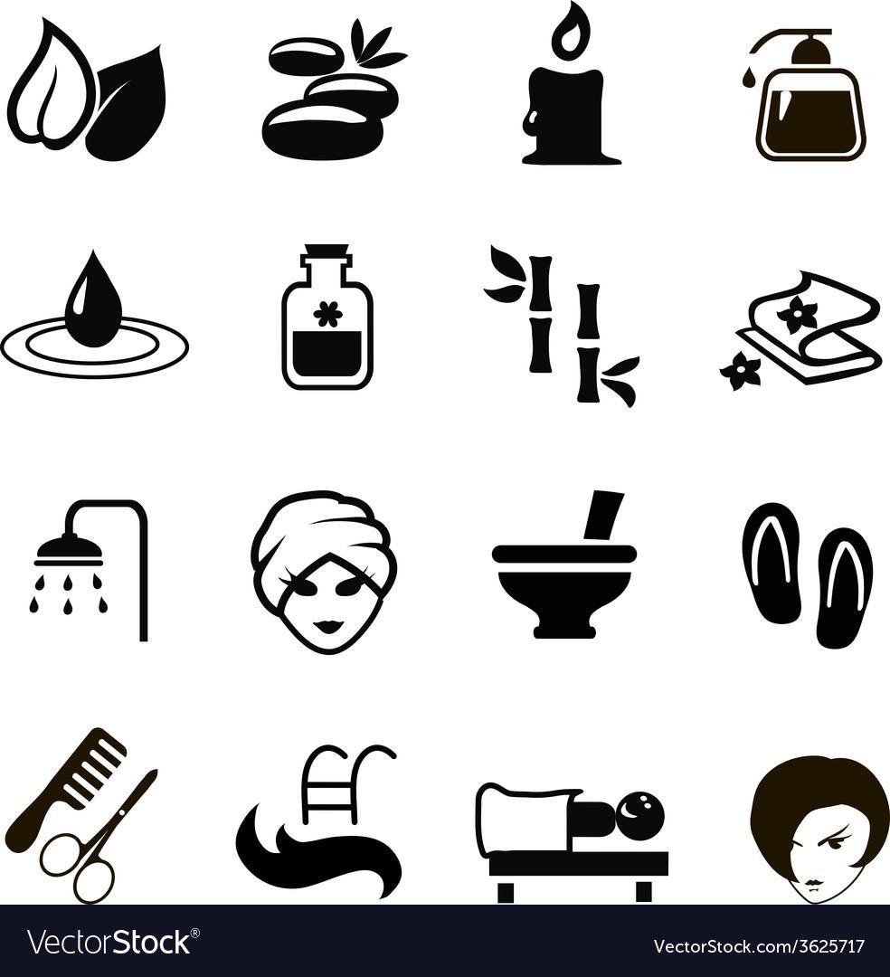 Black spa icons set vector | Price: 1 Credit (USD $1)