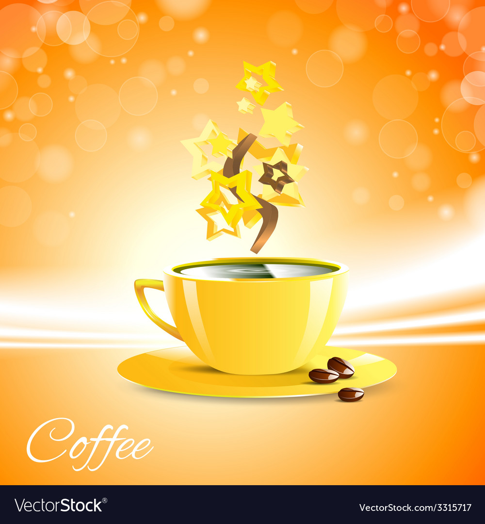 Coffe good morning with yellow cup vector | Price: 1 Credit (USD $1)