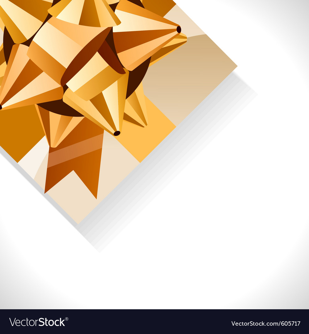 Gift box and big gold bow vector | Price: 1 Credit (USD $1)