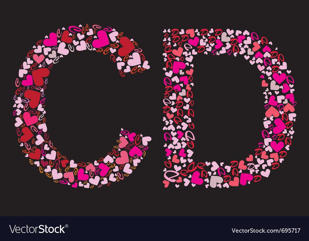Letter c d valentine alphabet vector | Price: 1 Credit (USD $1)