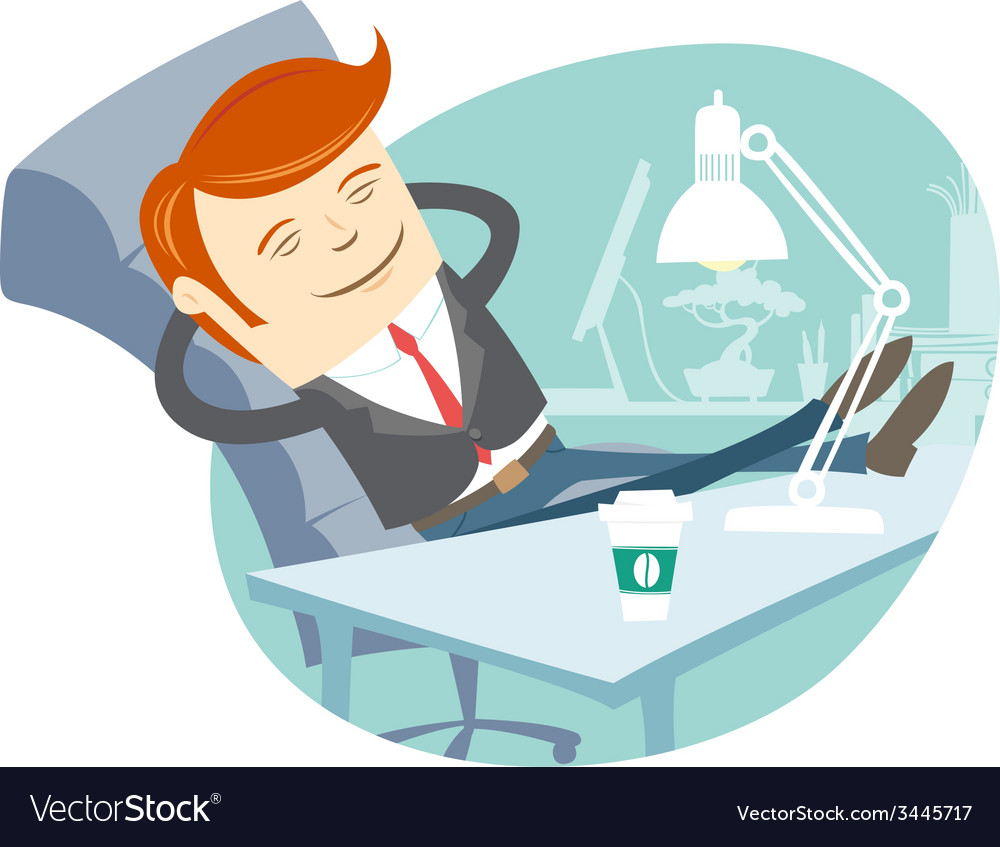 Office man sitting with feet on his working desk vector | Price: 1 Credit (USD $1)