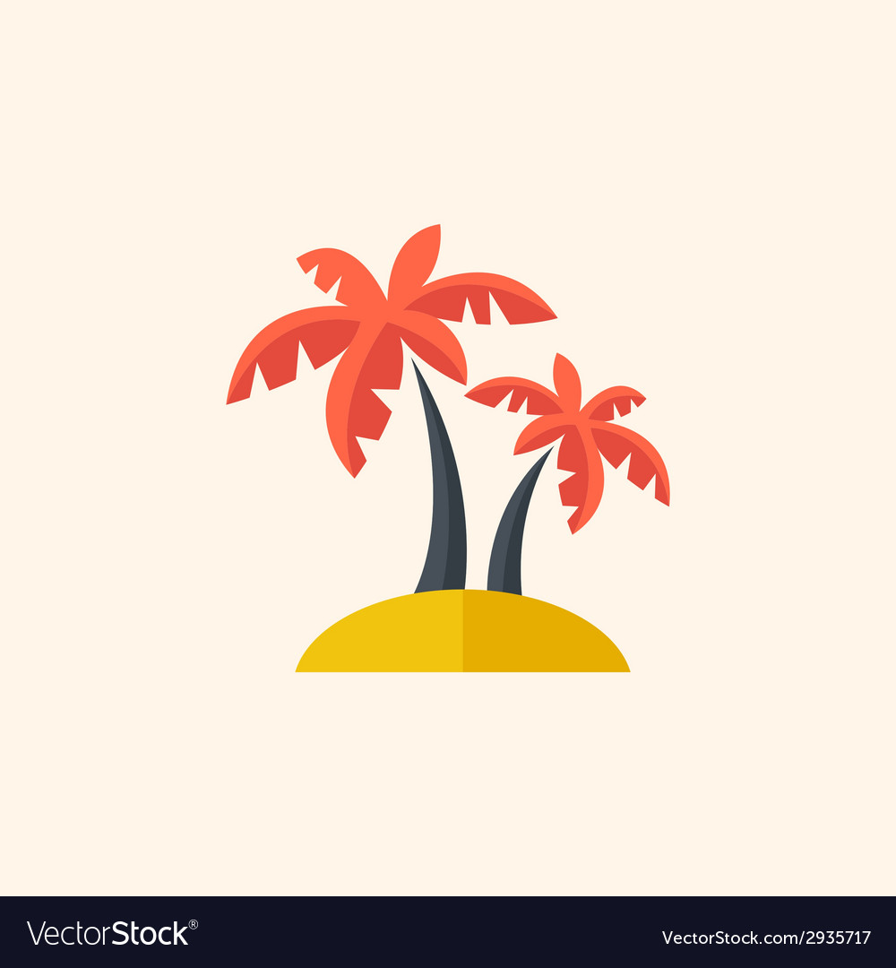 Palm travel flat icon vector | Price: 1 Credit (USD $1)