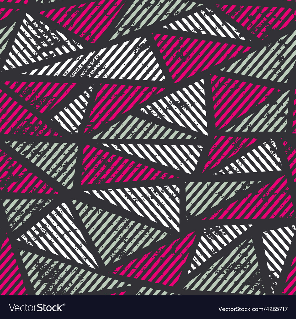 Pink triangle seamless pattern with grunge effect vector | Price: 1 Credit (USD $1)