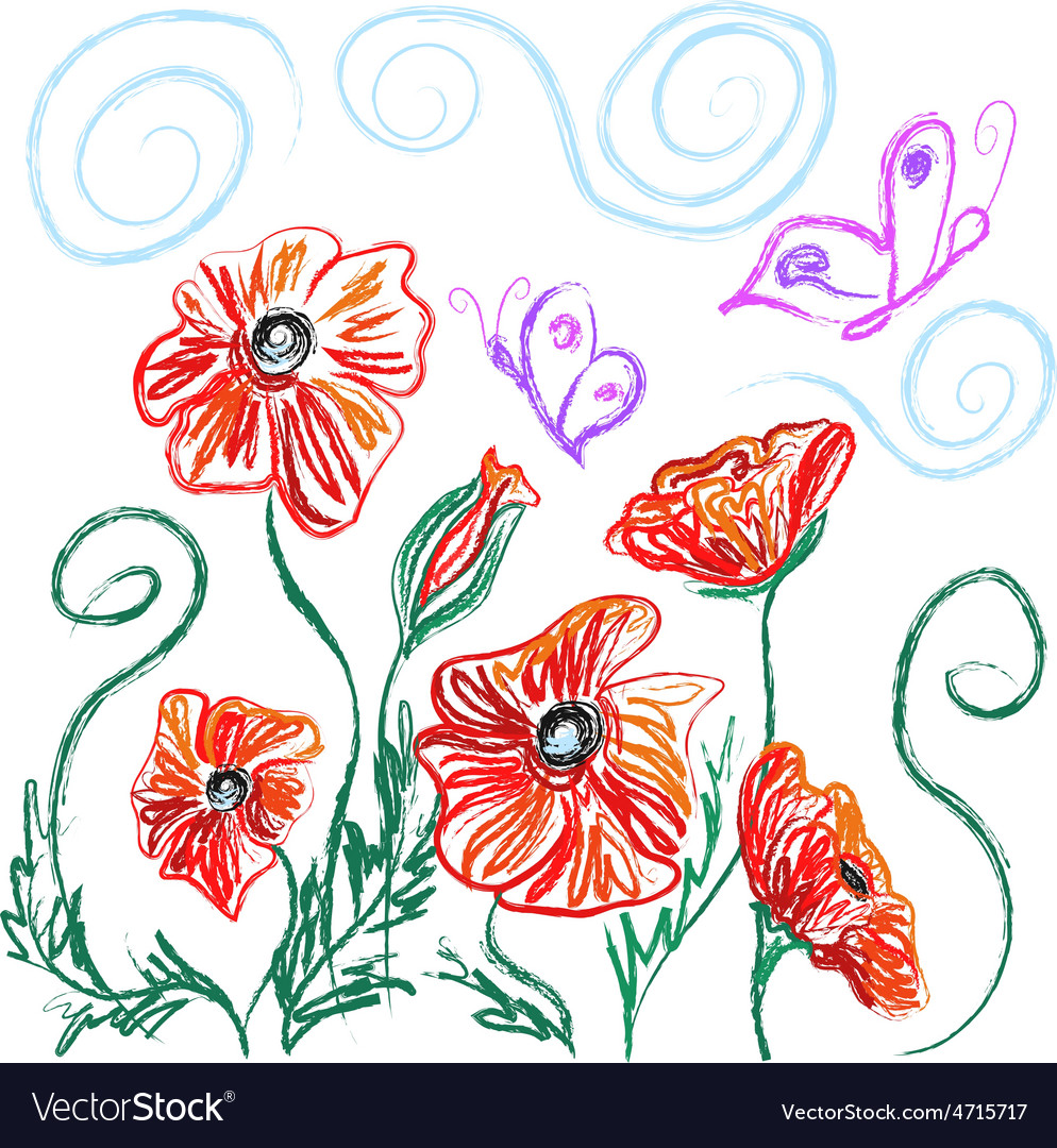 Poppies vector | Price: 1 Credit (USD $1)