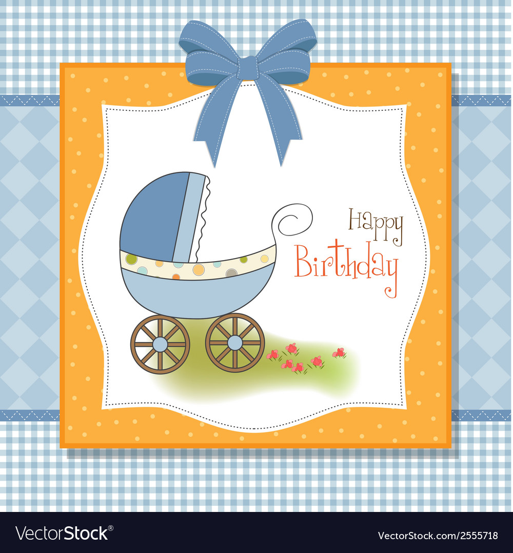 Baby boy shower card with stroller vector | Price: 1 Credit (USD $1)