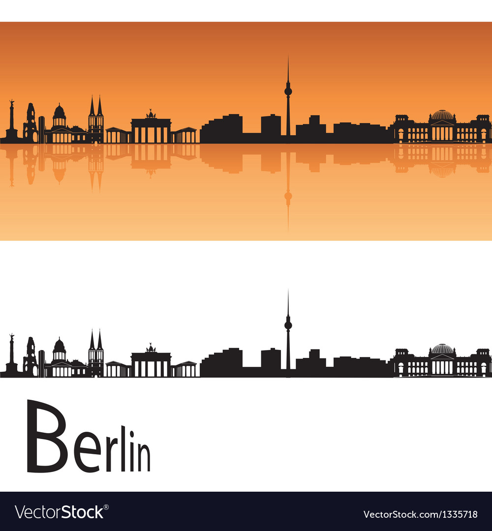 Berlin skyline in orange background vector | Price: 1 Credit (USD $1)