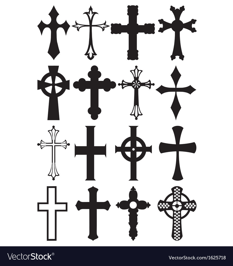 Cross silhouettes vector | Price: 1 Credit (USD $1)