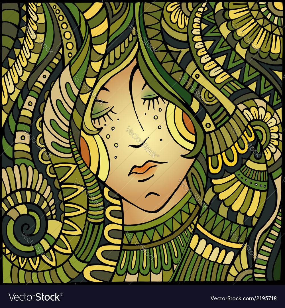 Decorative beautiful girl portrait vector | Price: 1 Credit (USD $1)