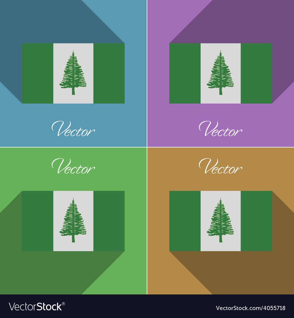 Flags norfolk island set of colors flat design and vector | Price: 1 Credit (USD $1)