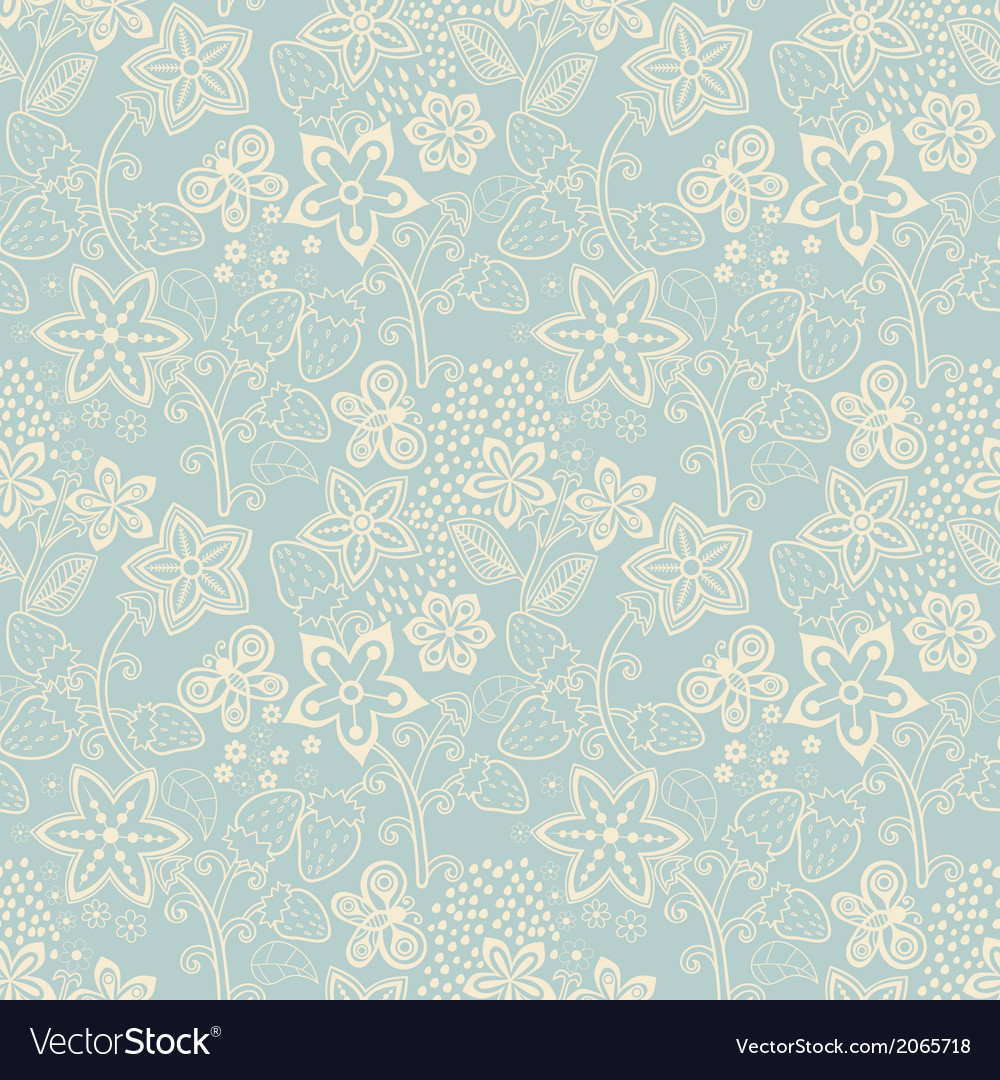 Floral seamless texture with a strawberry bright vector | Price: 1 Credit (USD $1)
