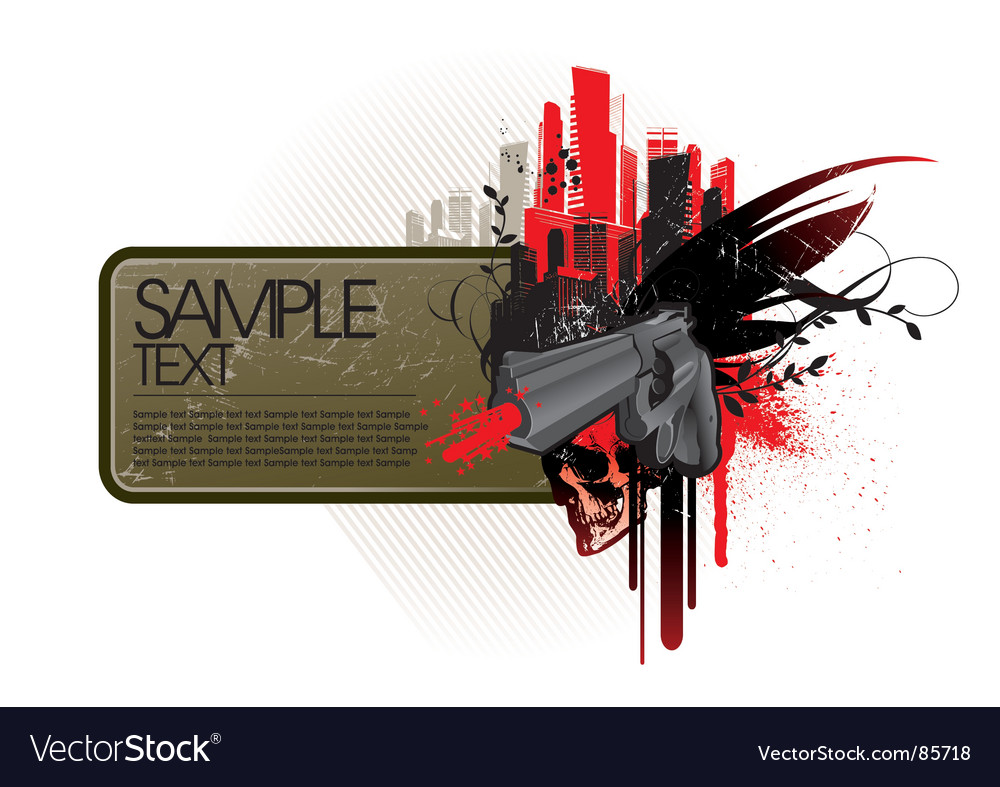 Frame with gun vector | Price: 1 Credit (USD $1)