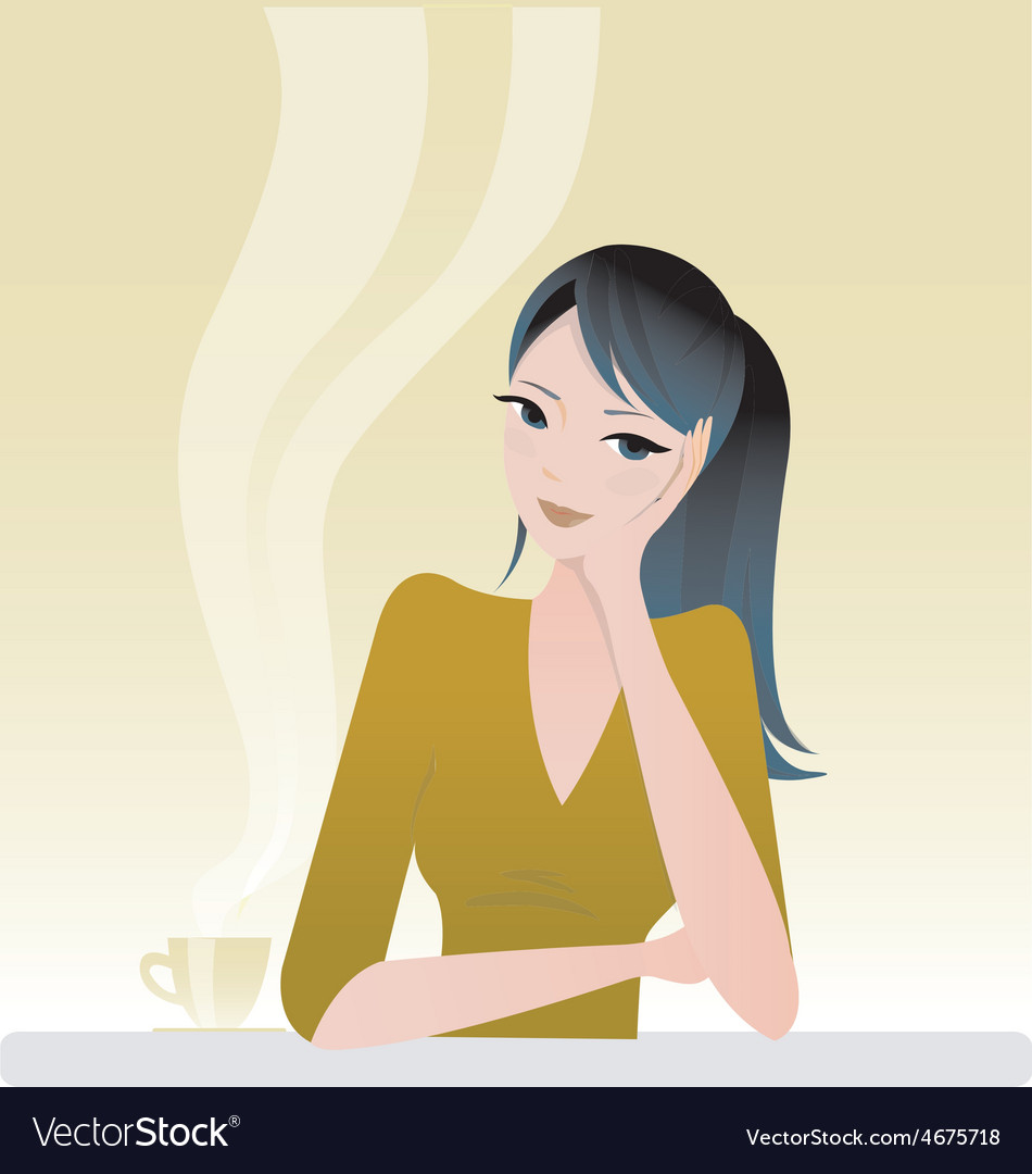 Girl sitting with coffee vector | Price: 1 Credit (USD $1)