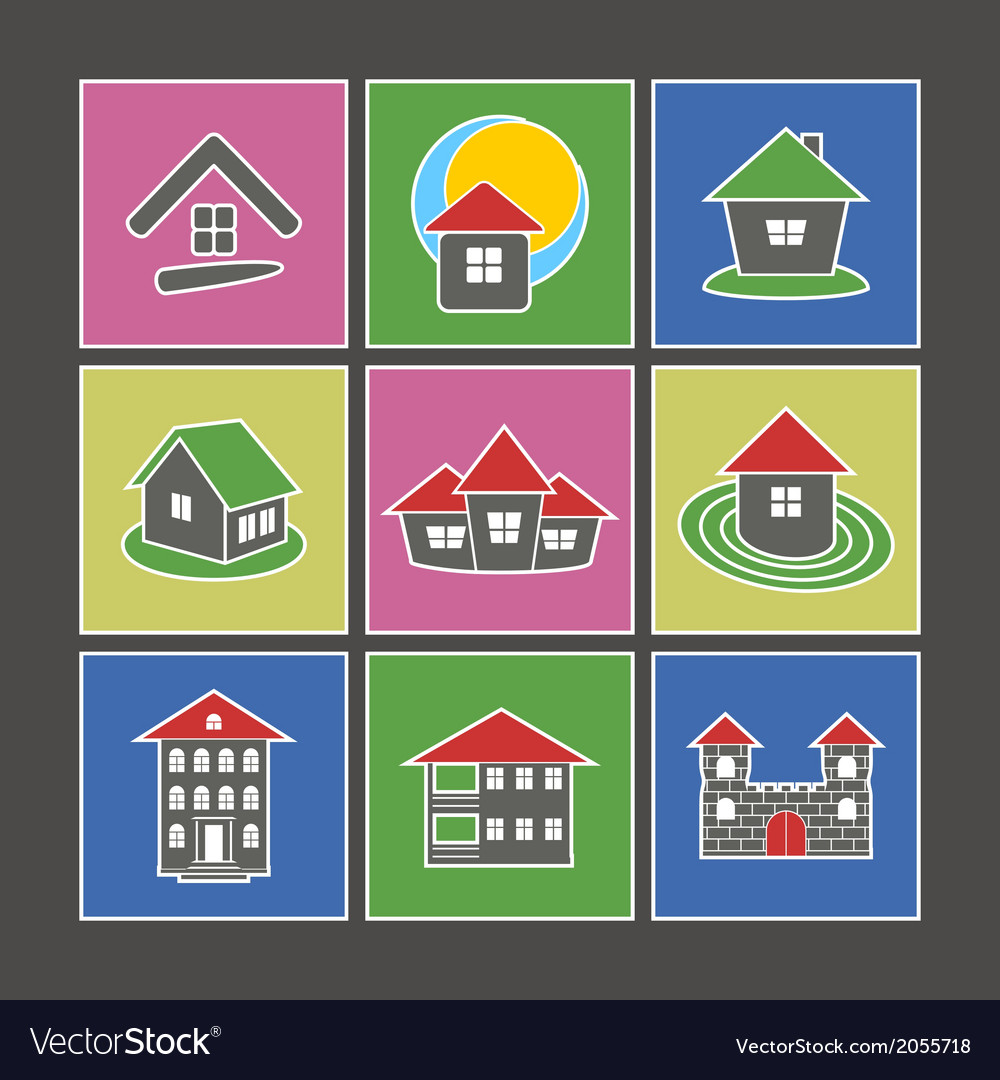 Icons of houses vector | Price: 1 Credit (USD $1)