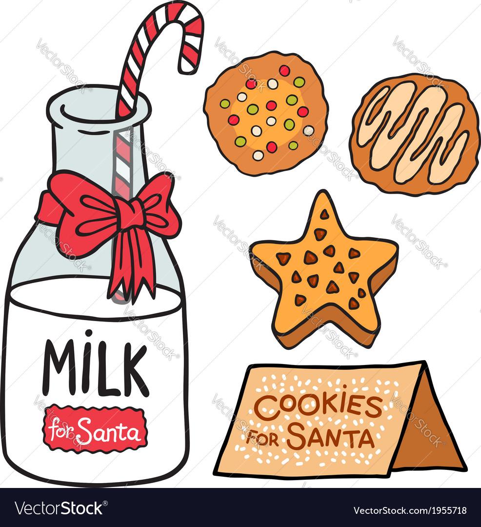 Milk cookies for santa claus vector | Price: 1 Credit (USD $1)